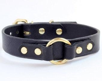 Black BDSM leather collar, Black Submissive Leather Collar, Black and Gold BDSM Collar, Slave Collar, Leather Choker, BDSM Gear