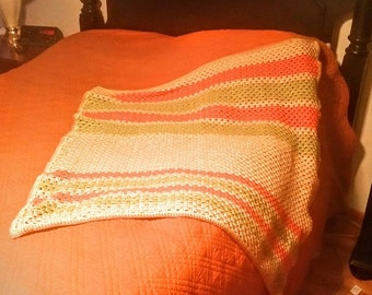 Hand Crocheted Granny Stripe Lap Afghan