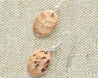 Oval Initial Earrings