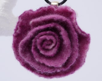 Felted Rose Necklace, Dark Raspberry Pink