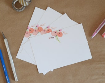 Three Rose Buds | Set of 8 6x4 Postcards with Envelops | Garden, Pastoral, Stationary, Watercolor Illustration, Housewarming, Gift