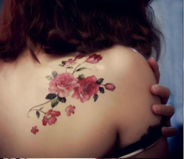 rosa blume schulter tattoo blumen tattoo vintage von tattoocrush. Black Bedroom Furniture Sets. Home Design Ideas