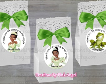 12PCS Princess and the Frog Stickers, Princess Tiana Stickers, Princess and the Frog Goody Bag Stickers, Personalized Stickers