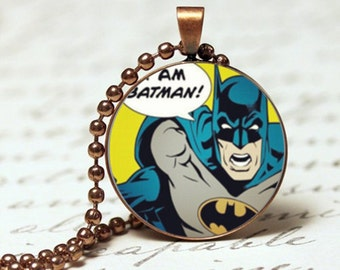 I am Batman comic pendant necklace
