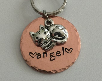"Cat Tag with Charm - Cat Name Tag - Pet ID Tag with Sleeping Kitty Charm - 1"" Round Copper Pet Tag - Cat Collar Tag"