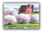 White Barn Blue Silos by llmartin Original ACEO Watercolor