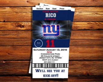 New York Giants Ticket Birthday Invitation-Can be customized to any occasion