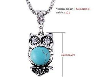Bohemian Vintage Turquoise Owl Necklace