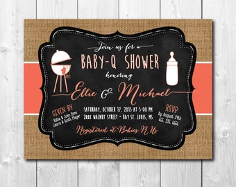 BABY-Q Shower Invitation / DIGITAL FILE / printable/ wording and colors can be changed