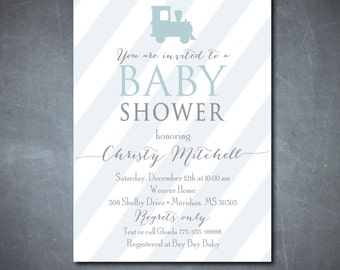 Simple but Adorable Baby BOY Shower Invitation / DIGITAL FILE  / printable / wording and colors can be changed