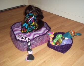 Dog Bed and Toy Basket set