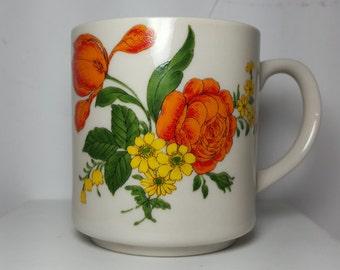 Vintage Japan Mug with Orange Ranunculus and Yellow Daisies