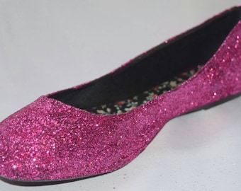 Pink Glitter Flats  Womens and Girls Any Size Any Color