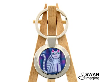 Cat Key Ring ~ Funky Cat Key Ring ~ Funky Cat Design #3 ~  Round Keyring Keychain