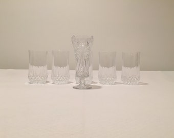 5 Vintage Glasses and Vase