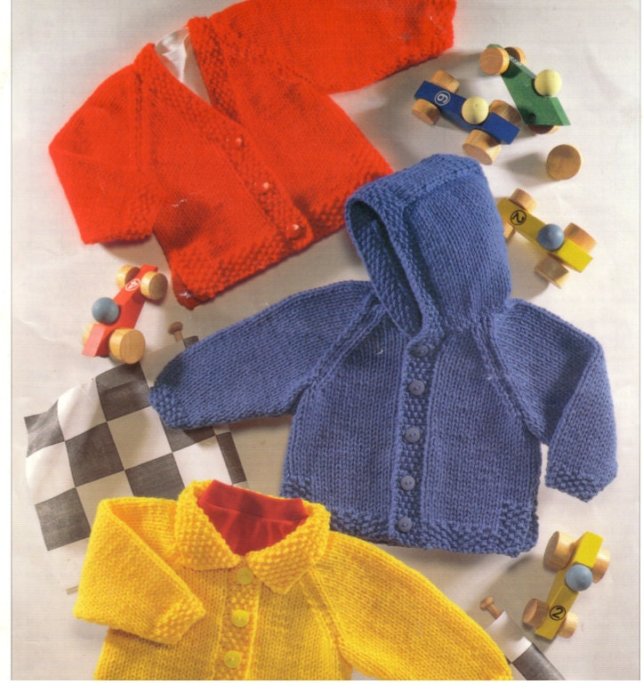 Knit Baby Jacket with hood collar and v-neck vintage pattern