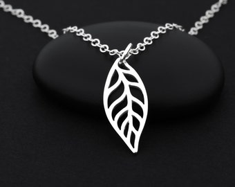 Autumn Leaf Necklace, Silver Leaf Necklace, Leaf Pendant Necklace, Sterling Silver, Dainty Leaf Necklace, Silver Leaf Charm, Nature Jewelry