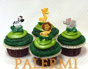 Zoo animals Cupcake Toppers Plastic, Jungle Safari Animals Cupcake Topper Picks