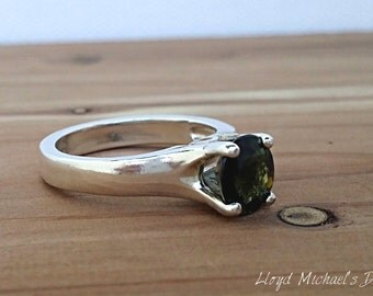 Mozambique Green Tourmaline Ring set in Sterling Silver