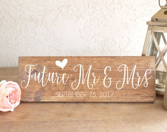 Future Mr & Mrs Sign - Engagement Photos Sign - Save the Date Sign - Engagement Sign - Future Mr and Mrs - Engagement Photos Prop -Wood Sign