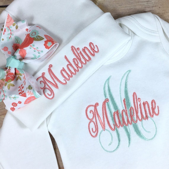 Personalized Coming Home Outfit Monogram Clothing Gift Coral