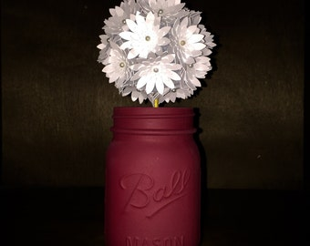 NEW* Rustic White Daisy Paper Flower In A Hand-Painted Maroon Mason Jar!!