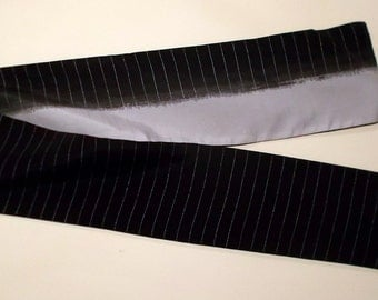 Unique double, double sided scarf in black and gray, silver stiped, vintage