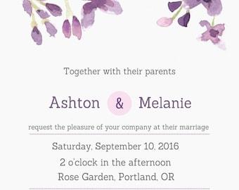 Purple Flowers Wedding Set