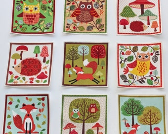 Set of 9 Woodland Animals/Forest Animals Iron-on Fabric Quilting Appliques, Woodland Iron On, Forest Animal Applique, Woodland Baby Shower