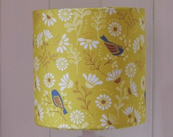 Yellow Hedgerow Bird drum lampshade
