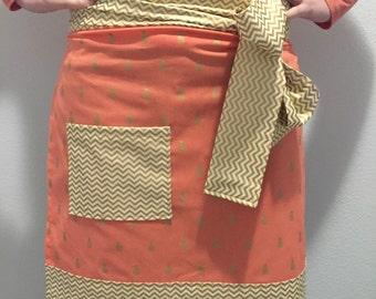 Gold chevron pineapple print apron, womens apron, hostess apron, half sized apron, pineapple apron, chevron apron