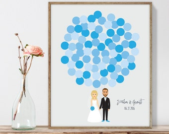 Wedding Guest Book Alternative Poster DIY  / Personalized Couple Illustration / Blue Balloons / Custom Illustration ▷ Printable PDF