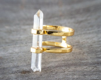 Double ring / Clear Quartz / Quartz point / Sterling silver / Gold plated