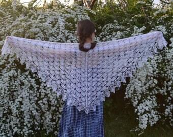 White Crochet Lace Shawl, Handmade Bridal Wrap, Natural Fiber Vintage Shawl, READY TO SHIP