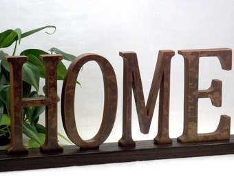 HOME Sign - Wooden Word Sign - Word Art Wood Sign - Wooden Words Decor - Wood Letters - Wooden Sign - Wood Sign - Wood Word Art Decor