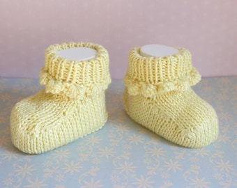 Lemon Baby Booties Pretty Crib Shoes Baby Shoes Baby Shower Knitted Crib Shoes Hand Knit Booties Baptism Shoes New Baby Gift Baby Slippers