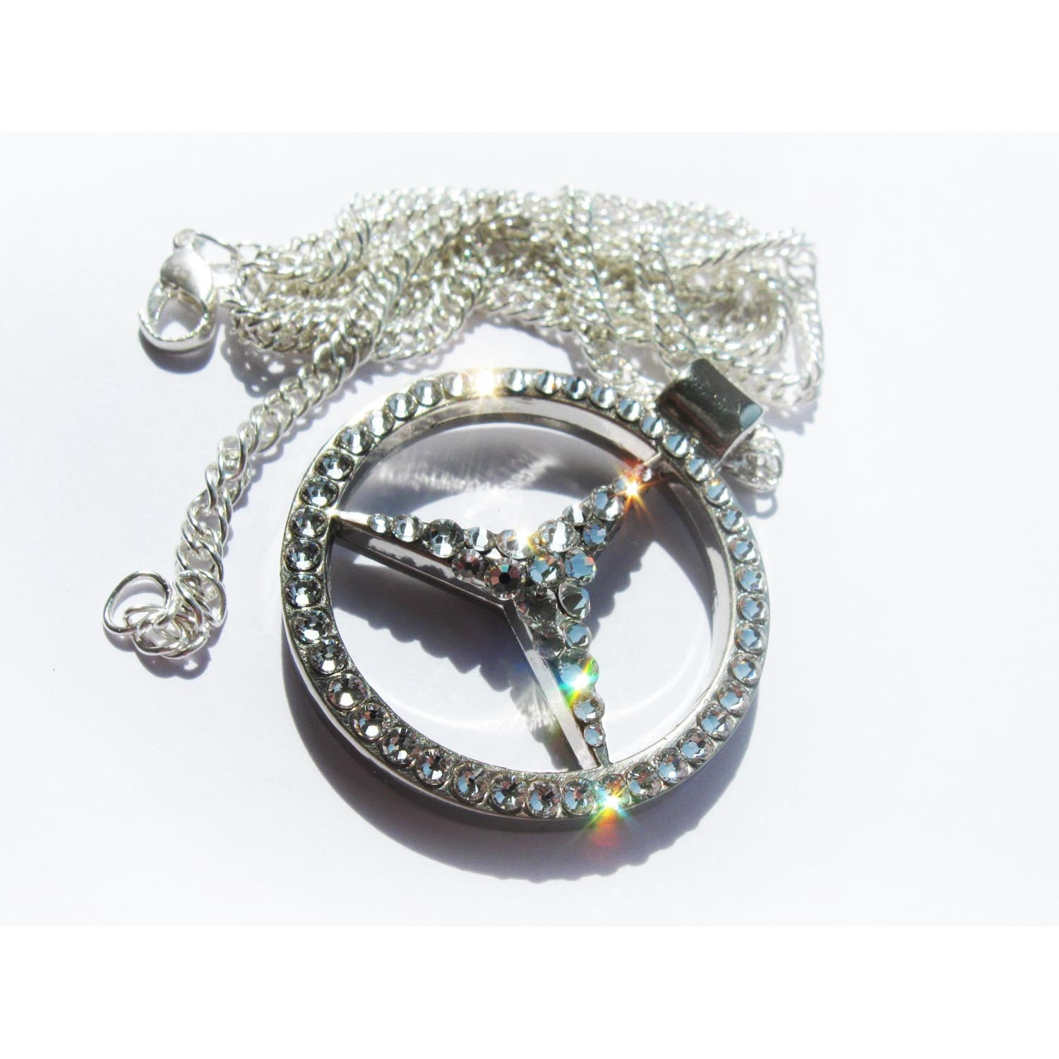 Mercedes pendant with swarovski car crystal jewelry mercedes for Mercedes benz pendant