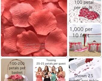 500 Coral Sorbet Rose Petals -  Silk Rose Petals for Weddings