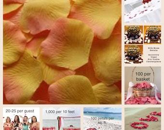 500 Citrus Rose Petals -Silk Rose Petals for Weddings, Petal Toss, Rose Petal Aisle