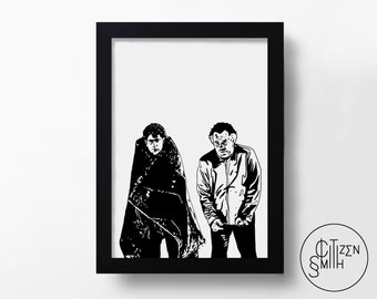 THE SOPRANOS - Pine Barrens - Paulie Walnuts & Christopher Moltisanti - Hand-Drawn Art Print/ TV Poster