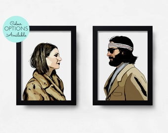 THE ROYAL TENENBAUMS - Margot & Richie - Wes Anderson - Set Of 2 Prints - Black And White/Colour - Hand-Drawn Film Movie Art Prints