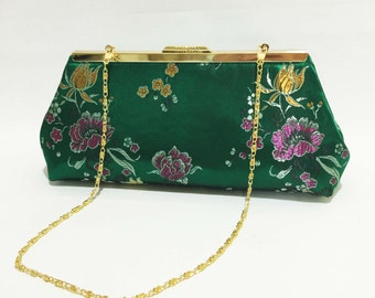 Clutch | Green Clutch| Evening Clutch | Green Floral Clutch |Bridesmaid Clutch