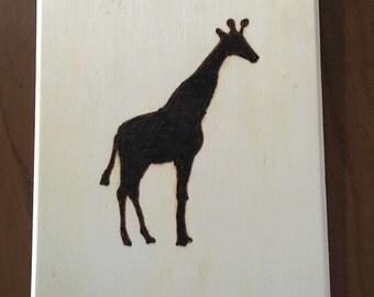 Giraffe picture, giraffe, Wood Burned Giraffe, wall art, wall hanging, kids room, pyrography, giraffe picture, giraffe art,