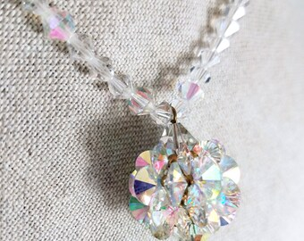 Vintage Dazzling Radiant Colorful Aurora Borealis Crystal Single Strand Pendant Necklace
