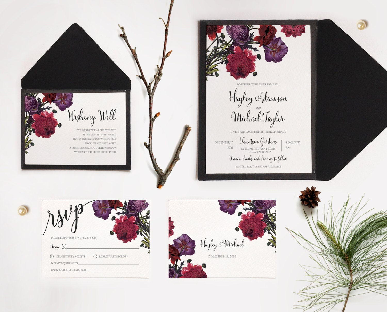 Wedding Invitations Rose: Botanic Rose Floral Wedding Invitations Printable Rose Floral