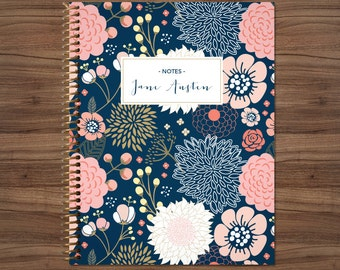 notebook journal custom / personalized lined notebook / blank notebook / spiral bound notebook / navy blue pink gold floral flower pattern