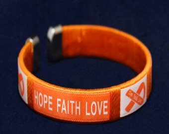 Orange Ribbon Awareness hope faith bangle bracelets