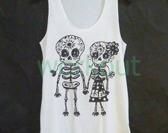 Cute clothes Skull tank top S M L XL Mexican skull art/ sun moon/ lover print/ white sleeveless top/ women t shirt/ teen girls clothing