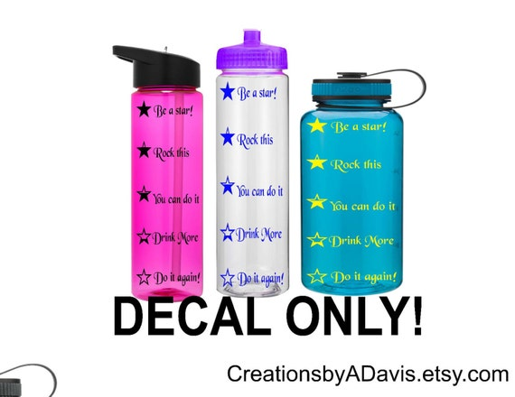 7827668267 Waterbottle Decal, Water Tracker Decal, Water Schedule Decal, Drink Times  Decal, Vinyl