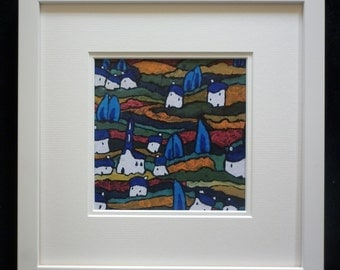 """Giclee Print of Original Acrylic Landscape Painting, Framed 12""""x12"""" Under Glass on Quality Paper, Giclee Landscape Print, Giclee Print"""